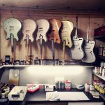Deimel Guitarworks - inside the laquer room we mix colors and let bodies dry