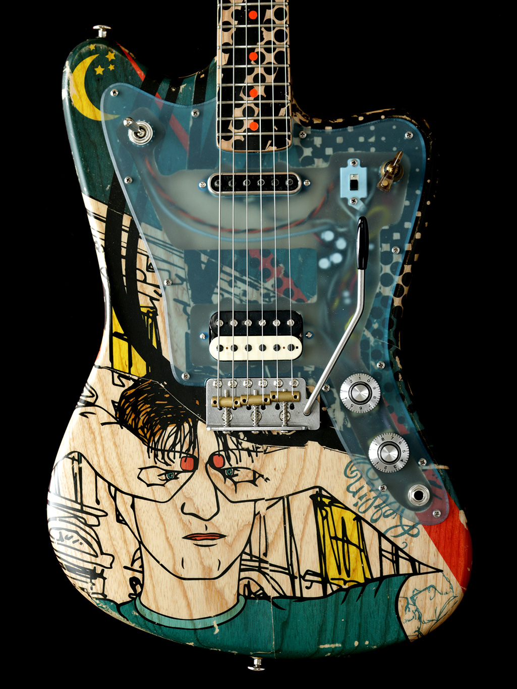 painted guitar Deimel Firestar Artist Edition, art by Kora Jünger