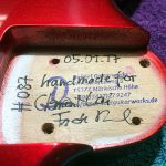 Deimel Guitarworks - Frank signs the body incl. serial number, date, and customer name