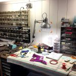 Deimel Guitarworks - Frank working on electric circuit solutions for a special customer request